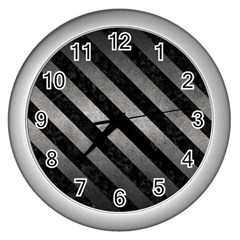Stripes3 Black Marble & Gray Metal 1 (r) Wall Clocks (silver)  by trendistuff