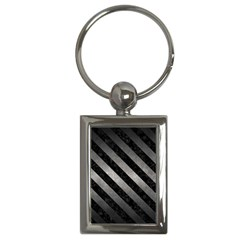 Stripes3 Black Marble & Gray Metal 1 (r) Key Chains (rectangle)  by trendistuff