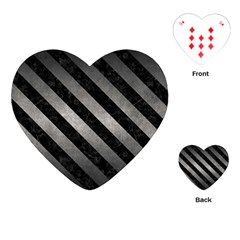 Stripes3 Black Marble & Gray Metal 1 (r) Playing Cards (heart)  by trendistuff