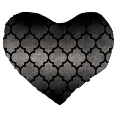 Tile1 Black Marble & Gray Metal 1 (r) Large 19  Premium Heart Shape Cushions by trendistuff