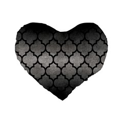 Tile1 Black Marble & Gray Metal 1 (r) Standard 16  Premium Flano Heart Shape Cushions by trendistuff