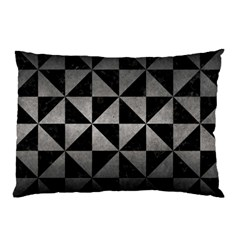 Triangle1 Black Marble & Gray Metal 1 Pillow Case by trendistuff