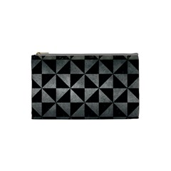 Triangle1 Black Marble & Gray Metal 1 Cosmetic Bag (small)  by trendistuff