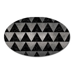 Triangle2 Black Marble & Gray Metal 1 Oval Magnet by trendistuff
