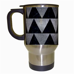 Triangle2 Black Marble & Gray Metal 1 Travel Mugs (white) by trendistuff