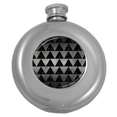Triangle2 Black Marble & Gray Metal 1 Round Hip Flask (5 Oz) by trendistuff