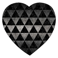 Triangle3 Black Marble & Gray Metal 1 Jigsaw Puzzle (heart) by trendistuff