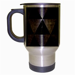 Triangle3 Black Marble & Gray Metal 1 Travel Mug (silver Gray) by trendistuff