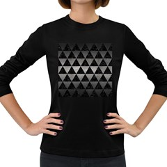 Triangle3 Black Marble & Gray Metal 1 Women s Long Sleeve Dark T Shirts by trendistuff