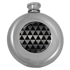 Triangle3 Black Marble & Gray Metal 1 Round Hip Flask (5 Oz) by trendistuff