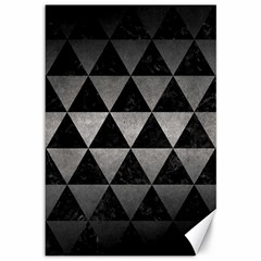 Triangle3 Black Marble & Gray Metal 1 Canvas 12  X 18   by trendistuff