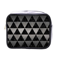 Triangle3 Black Marble & Gray Metal 1 Mini Toiletries Bags by trendistuff