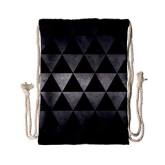 Triangle3 Black Marble & Gray Metal 1 Drawstring Bag (small) by trendistuff
