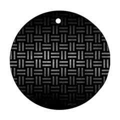 Woven1 Black Marble & Gray Metal 1 Ornament (round) by trendistuff