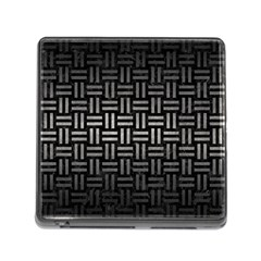 Woven1 Black Marble & Gray Metal 1 Memory Card Reader (square) by trendistuff