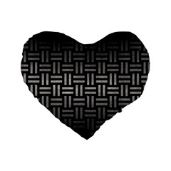 Woven1 Black Marble & Gray Metal 1 Standard 16  Premium Heart Shape Cushions by trendistuff
