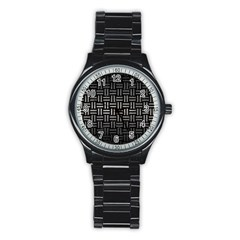 Woven1 Black Marble & Gray Metal 1 Stainless Steel Round Watch by trendistuff