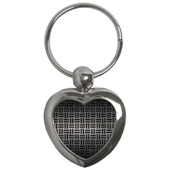 Woven1 Black Marble & Gray Metal 1 (r) Key Chains (heart)  by trendistuff
