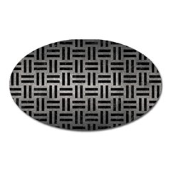 Woven1 Black Marble & Gray Metal 1 (r) Oval Magnet by trendistuff