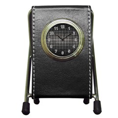 Woven1 Black Marble & Gray Metal 1 (r) Pen Holder Desk Clocks by trendistuff