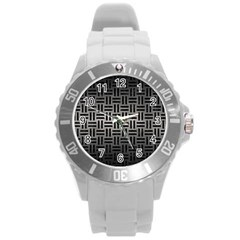 Woven1 Black Marble & Gray Metal 1 (r) Round Plastic Sport Watch (l) by trendistuff