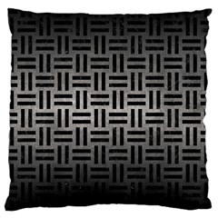 Woven1 Black Marble & Gray Metal 1 (r) Large Cushion Case (one Side) by trendistuff
