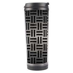Woven1 Black Marble & Gray Metal 1 (r) Travel Tumbler by trendistuff
