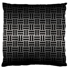 Woven1 Black Marble & Gray Metal 1 (r) Large Flano Cushion Case (one Side) by trendistuff