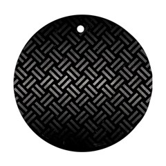 Woven2 Black Marble & Gray Metal 1 Ornament (round) by trendistuff
