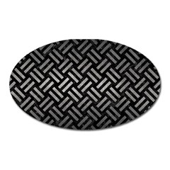 Woven2 Black Marble & Gray Metal 1 Oval Magnet by trendistuff