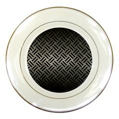 Woven2 Black Marble & Gray Metal 1 (r) Porcelain Plates by trendistuff