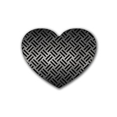 Woven2 Black Marble & Gray Metal 1 (r) Heart Coaster (4 Pack)  by trendistuff