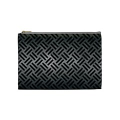 Woven2 Black Marble & Gray Metal 1 (r) Cosmetic Bag (medium)  by trendistuff