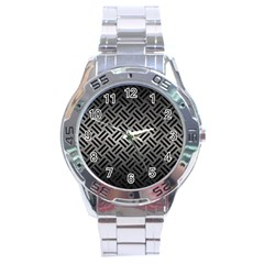 Woven2 Black Marble & Gray Metal 1 (r) Stainless Steel Analogue Watch by trendistuff