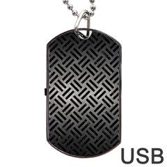 Woven2 Black Marble & Gray Metal 1 (r) Dog Tag Usb Flash (two Sides) by trendistuff