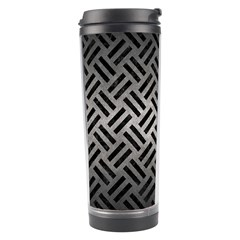 Woven2 Black Marble & Gray Metal 1 (r) Travel Tumbler by trendistuff
