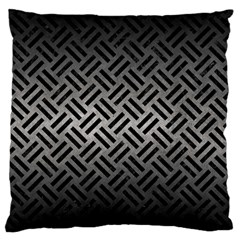 Woven2 Black Marble & Gray Metal 1 (r) Large Flano Cushion Case (one Side) by trendistuff
