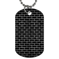 Brick1 Black Marble & Gray Metal 2 Dog Tag (one Side) by trendistuff