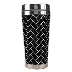 Brick2 Black Marble & Gray Metal 2 Stainless Steel Travel Tumblers by trendistuff