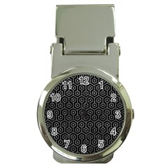 Hexagon1 Black Marble & Gray Leather Money Clip Watches by trendistuff