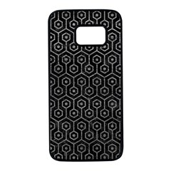 Hexagon1 Black Marble & Gray Leather Samsung Galaxy S7 Black Seamless Case by trendistuff