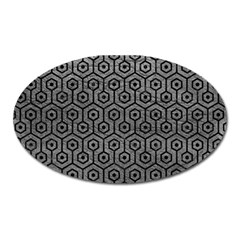Hexagon1 Black Marble & Gray Leather (r) Oval Magnet by trendistuff
