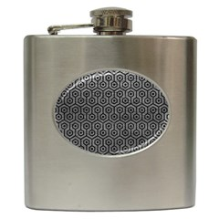 Hexagon1 Black Marble & Gray Leather (r) Hip Flask (6 Oz) by trendistuff