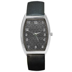 Hexagon1 Black Marble & Gray Leather (r) Barrel Style Metal Watch by trendistuff