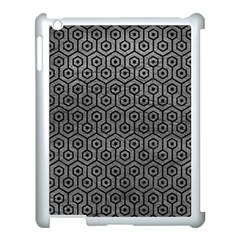 Hexagon1 Black Marble & Gray Leather (r) Apple Ipad 3/4 Case (white) by trendistuff