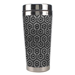 Hexagon1 Black Marble & Gray Leather (r) Stainless Steel Travel Tumblers by trendistuff