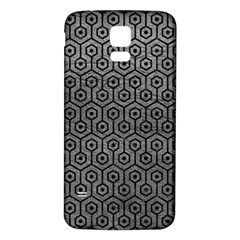 Hexagon1 Black Marble & Gray Leather (r) Samsung Galaxy S5 Back Case (white) by trendistuff