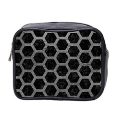Hexagon2 Black Marble & Gray Leather Mini Toiletries Bag 2 Side by trendistuff