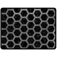 Hexagon2 Black Marble & Gray Leather Double Sided Fleece Blanket (large)  by trendistuff