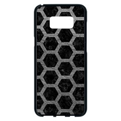 Hexagon2 Black Marble & Gray Leather Samsung Galaxy S8 Plus Black Seamless Case by trendistuff